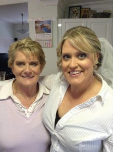 Bride Rebecca and her mum Chris. Makeup by Kelly Simply Beauty Studio